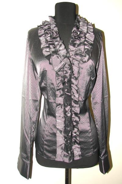 Блузка черная в серую полоску без воротника Р72