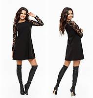 Платье мини, рукава из набивного гипюра