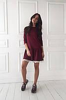 Стильное короткое красивое платье свободного кроя с кружевом