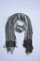 Шарф платок унисекс бахрома темно-серый полоска