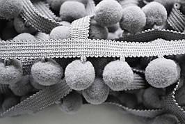 Тасьма с помпонами 20 мм серые