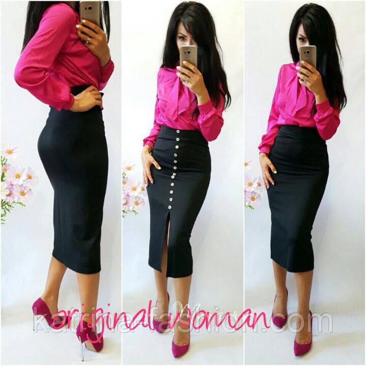 0469d0c9a69 Женская красивая юбка-карандаш миди с размером спереди (блуза отдельно)