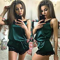 Зеленая домашняя  пижамка( комбез ) с кружевом. Арт-9716/11