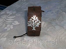 Кожаный браслет на руку ДЕРЕВО ЖИЗНИ, ручная работа, медицинская сталь