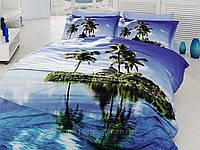 Комплект постельного белья First choice  3D сатин AZURA Двуспальный Евро Растения, цветы