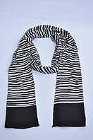 Шарф платок мужской унисекс черный в белую полоску
