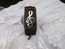 Кожаный браслет на руку СКРИПИЧНЫЙ КЛЮЧ, ручная работа, медицинская сталь