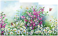 """Схема для вышивки бисером """"Полевые цветы"""" (модульный триптих)"""