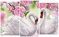 """Схема для вышивки бисером """"Лебеди"""" (модульный триптих)"""
