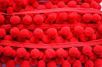 Тасьма с помпонами 20 мм красные