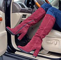 Сапоги высокие демисезонные замша на толстом каблуке разные цвета AV0010