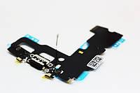 Шлейф iPhone 7 с коннектором зарядки и наушника черный Оригинал