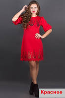 Женское платье с ажурным рисунком-красное