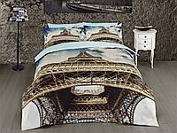 Комплект постельного белья First choice  3D сатин EIFEL Двуспальный Евро Архитектурные сооружения