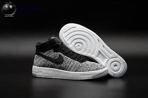 "Кроссовки Nike Air Force High Flyknit ""Grey/Black/White"", фото 2"