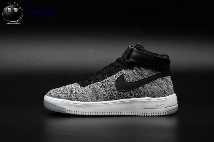 "Кроссовки Nike Air Force High Flyknit ""Grey/Black/White"""