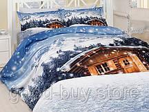 Комплект постельного белья First choice  3D сатин FRESH Двуспальный Евро Новый год, Рождество