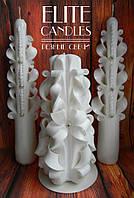 Белый набор резных свечей для семейного очага