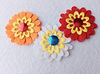 Набор нашивок на одежду ромашки разноцветные (3 штуки)