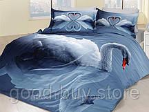 Комплект постельного белья First choice  3D сатин SWAN Двуспальный Евро Птицы