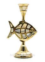 Подсвечник бронзовый с перламутром Рыба