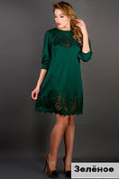 Женское платье с ажурным рисунком-зеленое