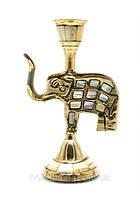 Подсвечник бронзовый с перламутром Слон