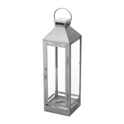 "IKEA ""ЛАГРАД"" Фонарь д/формов свечи,д/дома/улицы, серебристый, 43 см"