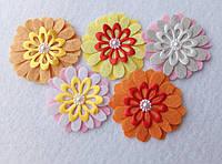 Набор нашивок на одежду ромашки разноцветные (5 штук)