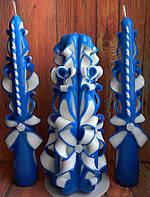 Синие свадебные свечи - отличный свадебный аксессуар