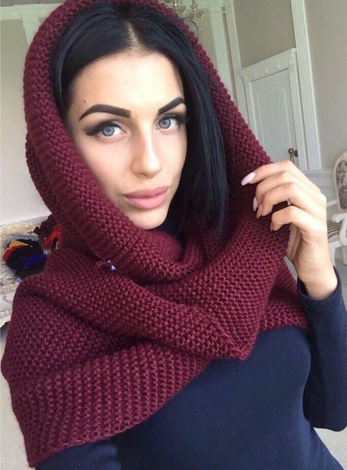 теплый вязаный шарф хомут 9 цветов цена 235 грн купить в