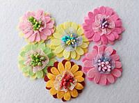 Набор нашивок на одежду ромашки разноцветные (6 штук)