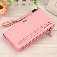 Клатч Baellerry Italia Classic жіночий світло-рожевий (портмоне, гаманець) + сережки в подарунок