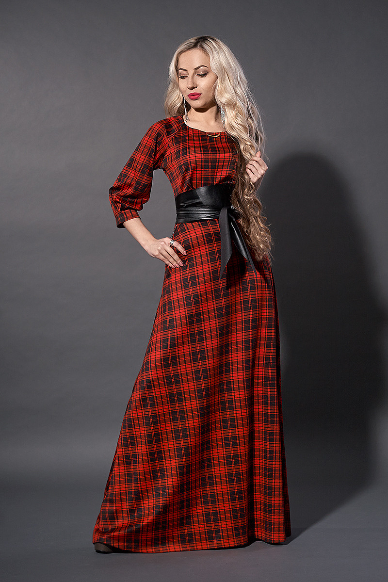 Платье женское мод 387-10 ,размер 54 красная клетка