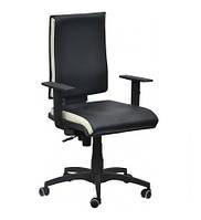 Кресло Спейс механизм FS HB Неаполь-20 черный/боковины Неаполь-50 белый.