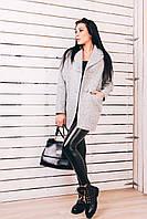Женское весеннее пальто из светло-серой шерсти