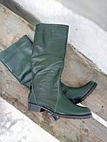 Женские сапоги зима, кожаные, изумрудные / сапоги женские, натуральная кожа, модные