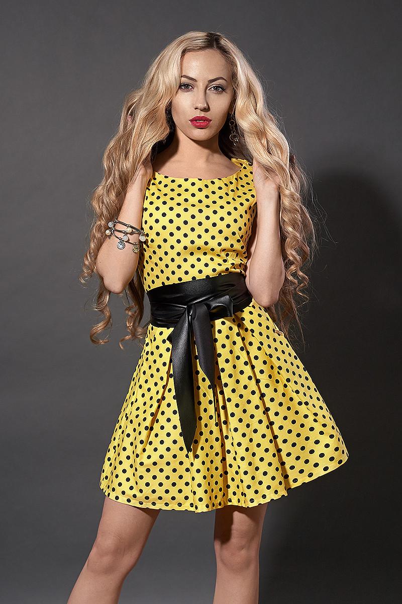 Платье  мод 248 -13 размер 46 желтый в черный горох