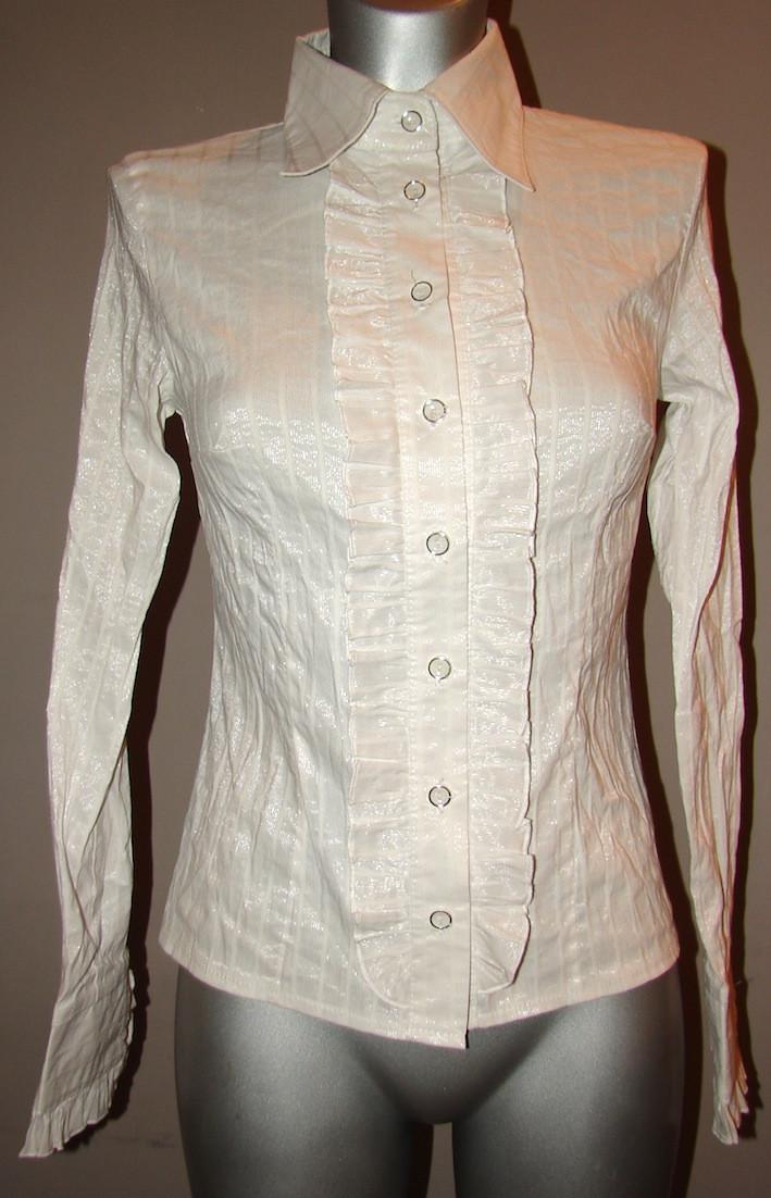 Блузка женская белая с рюшами Р08