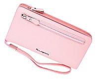 Удобный клатч Baellerry светло-розовый (портмоне, кошелек) + серьги-шарики в подарок