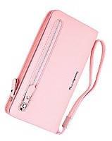 Практичный клатч кошелек  Baellerry светло-розовый (портмоне) + серьги-шарики в подарок