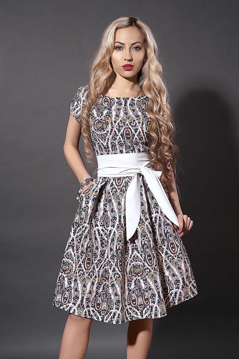 Платье  мод 249-15 размер 44, бежевый орнамент