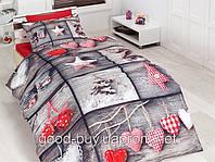 Комплект постельного белья First choice  3D бамбук IN LOVE Полуторный День святого Валентина, свадьба, романтика