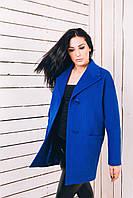 Женское весеннее пальто из ярко-синего кашемира