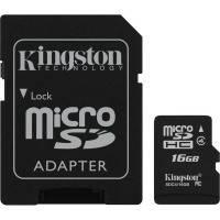 Карта памяти KINGSTON microSDHC 16 GB Class 4 + SD adapter // 5775502