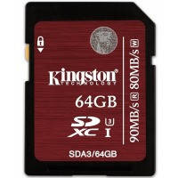 Карта памяти KINGSTON SDXC 64 GB Ultimate UHS-I U3 (R90, W80MB/s) // 6211222