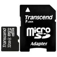 Карта памяти TRANSCEND microSDHC 32 GB Class 4 с SD адаптером // 5832796