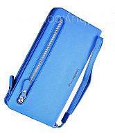 Женский кошелек Baellerry Italia Classic (портмоне, клатч) Синий + серьги-шарики в подарок