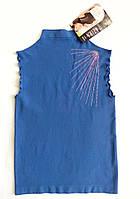 Стильный женский гольф безрукавка футболка микрофибра синий летний