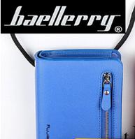 Стильный кошелек-клатч Baellerry синий (портмоне) + серьги шарики в подарок